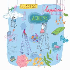 Multitasking women climbing ladders to future success balancing family and work life