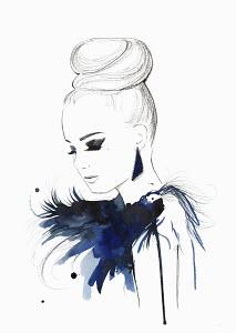 Elegant woman wearing hair bun and feather boa