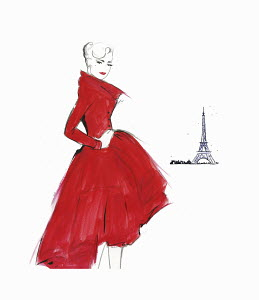 Confident elegant retro woman wearing red dress near Eiffel Tower