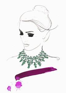 Elegant woman wearing green necklace