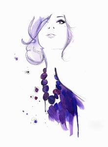 Glamorous woman wearing purple necklace