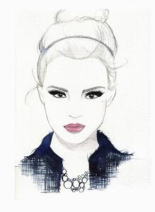 Portrait of serious beautiful woman wearing alice band