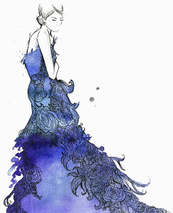 Elegant woman wearing flowing blue floral evening gown