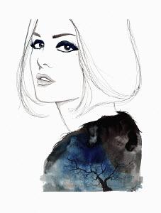 Beautiful woman wearing fluffy sweater with tree pattern