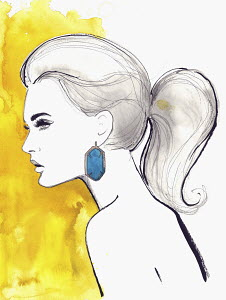 Profile of beautiful nude woman with pony tail wearing blue earring