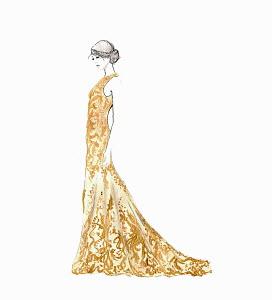 Beautiful woman wearing full length gold evening gown