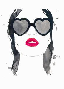 Beautiful woman with red lipstick wearing heart shaped sunglasses
