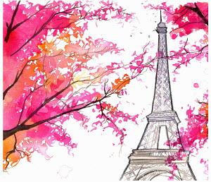 Bright autumn leaves in front of Eiffel Tower, Paris