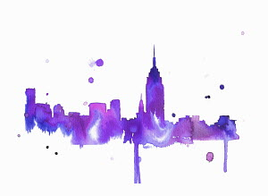 Splattered watercolor of New York City skyline