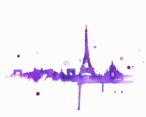 Splattered watercolor of Paris skyline