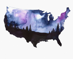 Starry night sky over map of United States