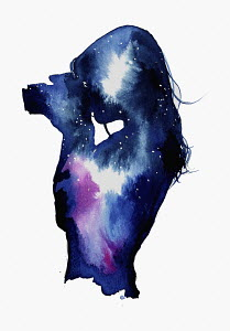 Starry night sky over silhouette of woman taking photograph