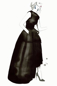 Fashion illustration of elegant woman wearing black evening gown