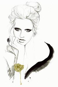 Fashion illustration of elegant woman looking bored
