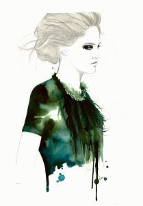 Fashion illustration of stylish woman wearing feather necklace