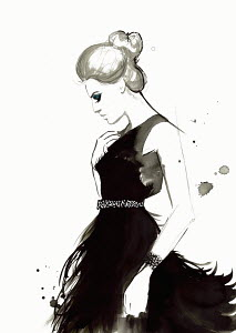 Fashion illustration of woman wearing feather evening gown
