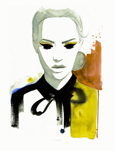 Fashion illustration of woman wearing blouse with tied bow