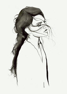 Contemplative woman with windswept hair and closed eyes