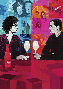Divorced couple drinking wine