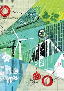 Collage of environmental conservation and alternative energy