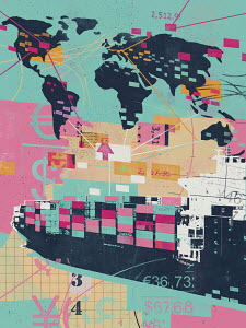 Global trade collage