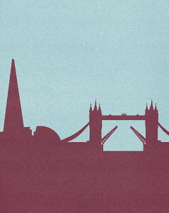 Silhouetted skyline of Tower Bridge, London,