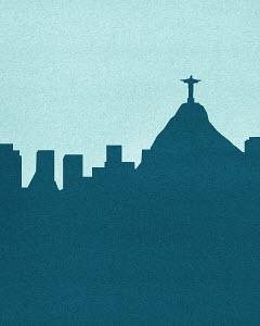 Silhouetted skyline of Christ the Redeemer statue, Rio De Janeiro
