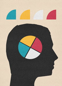 Multicolored pie chart inside of man's head