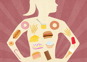 Variety of unhealthy food inside of woman's body