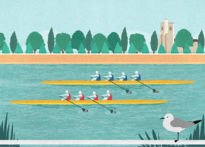 Rowers in rowing boat race on River Thames, Putney