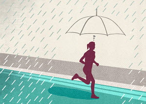 Focused woman protected from rain by imagining umbrella while running