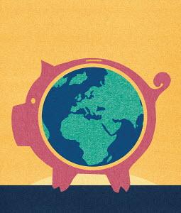 Globe inside piggybank