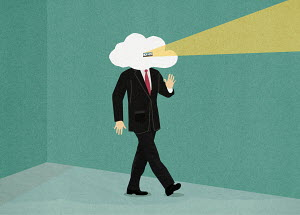 Businessman with head in the clouds looking through peephole