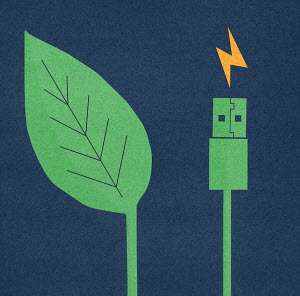 Green leaf next to electric usb cable and plug