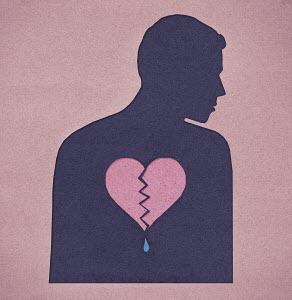 Silhouette of man with a broken heart