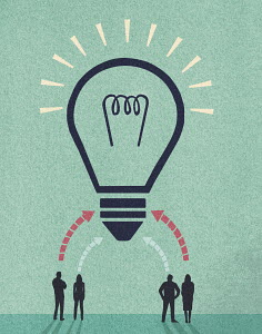 Ideas from business people forming huge light bulb