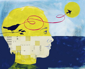 Man watching bird flying from inside of head containing information