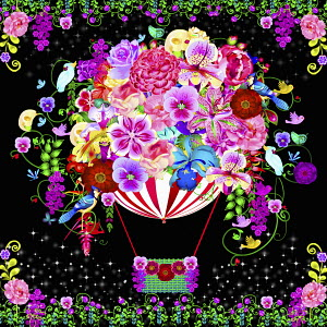 Bright colorful flowers covering hot air balloon