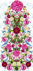 Ornate intricate floral pattern with birds