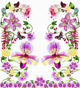 Ornate delicate floral pattern with butterflies