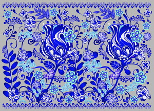 Bright blue floral pattern