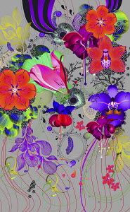Bright colorful flowers on gray background