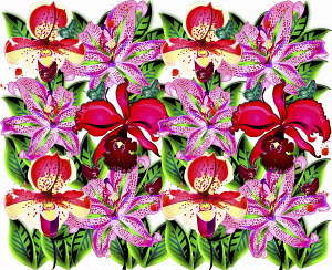 Bright color pink and red repeat floral pattern