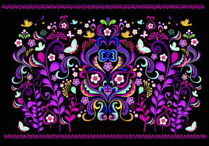 Fluorescent colorful symmetrical floral pattern on black background