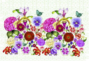 Bright colorful repeat floral pattern with butterflies