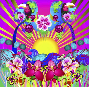 Bright colorful psychedelic sunbeam, flowers and birds