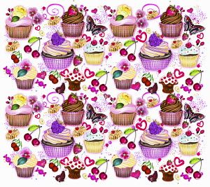 Cupcakes, fruit and butterflies pattern