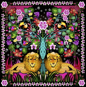 Vibrant floral tropical jungle pattern