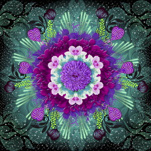 Glowing psychedelic pattern of flowers in bloom