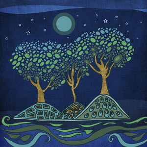 Green and blue trees on island under full moon